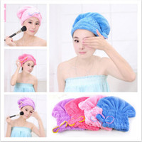 Wholesale Hot Lady Microfiber Towel Quick Dry Hair Drying Bowknot Wrap Hat Cap Spa Bathing