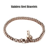 beaded key chains - 316L Stainless Steel Women Beaded Bracelets Fashion Shiny Rhinestones IP Rose Gold Plated High Polished Key Charm Bangles
