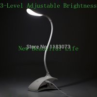 Wholesale Flexible LED Reading Light Level Adjustable Brightness USB Rechargeable Touch Sensor Switch Desk Table Lamp Eyes Protection
