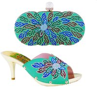 beauty border - Graceful beauty my lady party shoes and bag matching Italian design green color with nice leaves pattern with shining stones