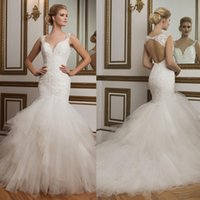 Wholesale 2016 Elegant modest mermaid wedding Sheer Neck Appliques Beadings country style sexy open back mermaid wedding dress gowns QW810