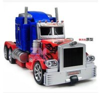 Wholesale Action Figure Toy Optimus Prime RC Robot Car Big Size One Key Transformation Voice USB Charger Led Light Rc Truck