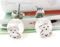 Wholesale new women little bear earrings cute pearl love bear earring te673 steel color