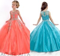 Wholesale 2015 Girls Pageant Dresses Gorgeous Jewel Crystal Beads Ball Gown Lovely Rachel Allan Girls Pageant Gowns Flower Girl Dresses HY1135