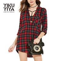 Wholesale YIKUYIYA Summer Autumn New Fashion Women Dress Single Breasted Long Sleeve Asymmetrical hem Casual Streetwear Shirt Dress