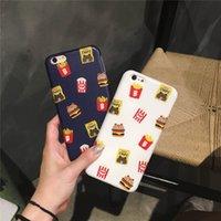 apples hamburg - Hot Cute Cartoon Hamburg Fries Transparent Edge TPU Cover Case For Iphone s Plus Matte Soft Protection Phone Case