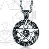 antique silver finish - Vintga Antique Finish Round Titanium Steel Jewish Star of David Charm Pendant Necklace New With Free Chain
