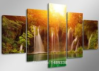 art waterfalls - Waterfall among Yellow Sun and Green Lake Large HD Top rated Canvas Print Painting for Living Room Wall Art Picture Gift F