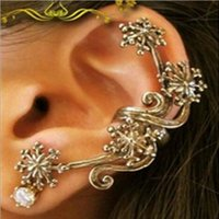 Wholesale 10pcs ear cuff Single vintage copper plated alloy Earloop spindrift waves spray Plum flower snowflake Clip earrings girl hot e302