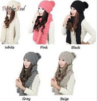 Wholesale Winter Warm Scarves Fashion Women s Scarf Knitted Beanies Bonnet Caps Female Hat and Scarf Set