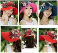 Wholesale Women Summer Sunhat caps Korean Fashion floral pattern wide brim hats beach hats uv protection summer hats baseball cap LJJG363