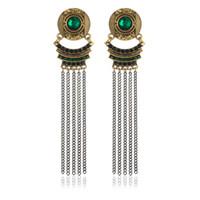 Wholesale Long Chain Tassel Dangle Earrings Vintage Silver Bronze Inlay Rhinestone Party Gift Charm Bohemia Earrings For Women