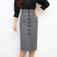 Wholesale Winter Tweed High Waist Knee Length Pencil Skirts Female Saia Women Woolen Single Breasted Midi Skirts Jupe Plus Size XXL