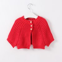 baby poncho crochet - Christmas Baby Girls Knit Crochet Poncho Kids Girls Red Knitted Outwear Girls Autumn Winter Fashion Sweater Children s clothing