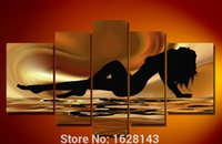 big multi picture frames - Nude Women Lying in water Panels Big Size Handmade Modern Oil Paintings on Canvas Living Room Shipping