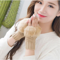 Wholesale Women Girl Knitted Faux Rabbit Fur gloves Mittens Winter Arm Length Warmer outdoor Fingerless Gloves Multi color optional
