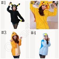Wholesale Poke pikachu Hoodies Sweater Cartoon Penguin Charmander Long Sleeve Zip Hoodies Anime Cosplay Costume Coat Sweatshirt OOA554