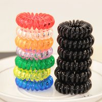 Wholesale 100pcs Telephone Cord Hair Jewelry Elastic Ponytail Holders Hair Ring Scrunchies Hair Rubber Band Tie Ring Hair Hair Tools