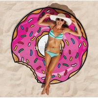 Wholesale DHL cm High Quality Round Donut Pizza Hamburger Towel Beach Cover Ups Sexy Beach Towels Chiffon Swimsuit Cover Up Yoga Mat Scarf XN5