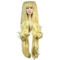 Womens Lolita Harajuku estilo rizado ondulado Layred Clip en Ponytails Halloween traje cosplay partido pelucas largo amarillo 40 pulgadas