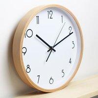 beech wood furniture - 12 inch Round Beech Wood Soundless Wall Clock Living Room Furniture Decore Clock