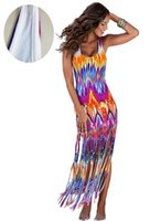 beach outlets - HOT Women Factory outlets in Europe and America sexy ladies flame printing fringed dress beach dress sleeveless vest