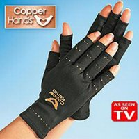Wholesale Hot Black Copper Hands Arthritis Gloves Therapeutic Compression For Sports For Health Care Gloves With Package PPA276