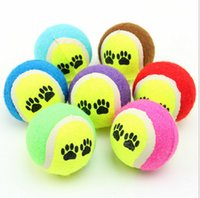ball bouncing games - 100pcs cm footprints tennis dogs special toy rubber ball resistant to biting bouncing ball training outdoor throwing game pet supplie