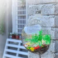 Wholesale Creative Acrylic Hanging Wall Mount Fish Tank Bowl Vase Aquarium Plant Pot Bowl Bubble Aquarium Decor