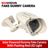 Wholesale Surveillance Cameras Indoor Bullet - Bullet Solar energy Power Fake Camera Realistic Dummy Decoy Security Camera Surveillance Simulated Fake CCTV Cam with Blinking LED