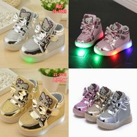 Wholesale 3 color Girls Sneakers Kids hello kitty Led Lighting Shoes Child Casual Athletic Shoes Baby Luminous Flat Shoes C885