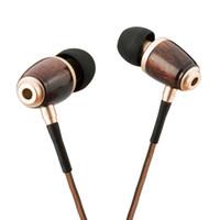 Wholesale DIKOO Earphone Wood Wooden In Ear Headphones Prenmium Genuine Noise Cancelling Earphones With Microphone For Samsung S7 Iphone6 S