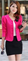 Wholesale new summer women s o neck blazer double breasted blazer red slim short jacket trench Three Quarter suits plus size M XXXL