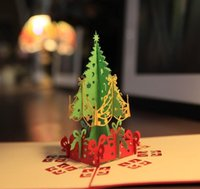 Wholesale Merry Christmas Tree D laser cut pop up paper handmade custom greeting cards Christmas gifts souvenirs