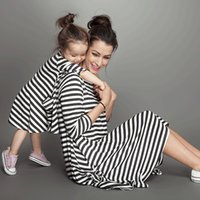 Wholesale Mother and daughter dress clothes Spring INS baby girls dresses Black white striped loose pockets long sleeve cotton T T T T T