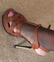 Wholesale Patent Leather Matte Women High heels Sandal Ladies cm and cm Heel Shoes Sandals T Strap Fashion Woman Summer Heels Platform