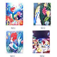 alice leather - Case for Apple ipad ipad air2 ipad6 ipad mini1234 Character cartoon Mermaid and Alice tablet Cover Flip stand shell coque