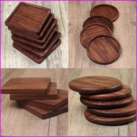 Wholesale Heat Resistant Black Walnut Wood Coasters Round Square Shape Coaster Tea Drink Wine Coffee Cup Mat Pad Table Decor