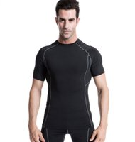Wholesale 2016 Quick Dry Men Compression Base Layer Breathable Quick Dry Short Sleeve T Shirts Under Skin Gear Bodybuilding Training Fitness