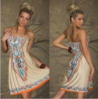 Wholesale New Arrival Sexy Women Mini Dress Casual Floral Bandeau Beach Summer Boho Maxi Sundress D72