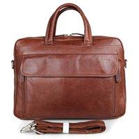 Wholesale Mens genuine leather messenger bag quot laptop shoulder bag briefcase bag