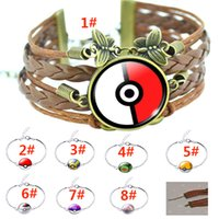 action jewelry - New Unisex Poke Go Elf Ball Bracelets Cartoon Action Figure Time Gemstone Alloy Hand Chain XMAS Jewelry Gifts ZJ N14