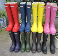 Wholesale WOMEN S Rainboots Tall Height Rubber Waterproof Wellies Rain boots Water Shoes Colors Are Available now DHL