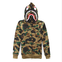 Wholesale 2015 classic new brand winter men camouflage shark hooded hoody Hoodie Sweatshirts Moletom Masculino fleece coat
