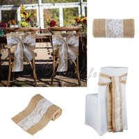 baby shower chair decorations - 1Piece cm x cm Hessian Burlap Chair Sash with Lace Fabric Chair Tie Bow Chair Band for Rustic Wedding Banquet Baby Shower Decorations