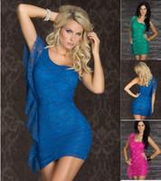 achat en gros de conceptions de matériaux de robe-2016 femmes vêtements robes d'été pour les femmes doux matériel Mini robe de dentelle avec une conception épaule Sexy Clubwear aquamarine / bleu / rouge CB9396