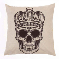 Cheap New Creative Vintage Retro Skull Pattern Pillow Case Cover Cushion Cotton Linen Sofa Bed Home