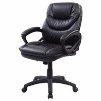 Wholesale PU Leather Ergonomic Mid Back Executive Computer Desk Task Office Chair Black