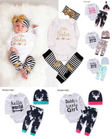Wholesale NEW Baby Baby Girls Christmas Outfit Kids Boy Girls Pieces set T shirt Pant Hat Baby kids Clothing sets