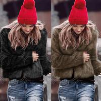 Wholesale Fashion Women Rabbit Fur Outwear Jacket Long Sleeve O Neck Short Coats Streetwear White Black Grey Brown Parka Jackets